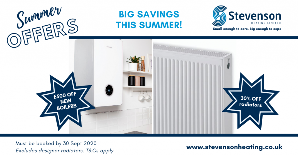 summer offers from Stevenson Heating. Save on new boiler and radiators
