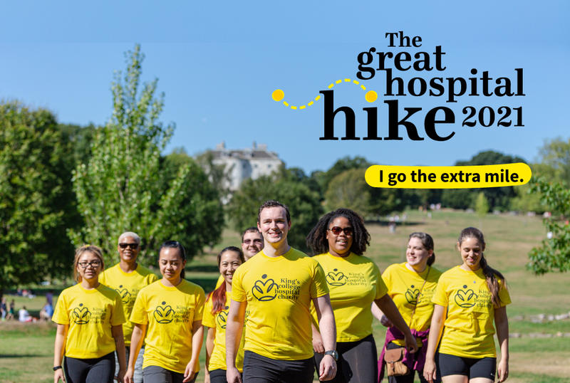 Great Hospital Hike with people walking and logo